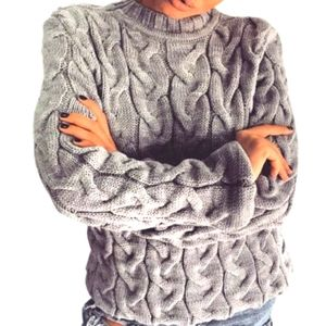 Rugold cable cotton light gray sweater